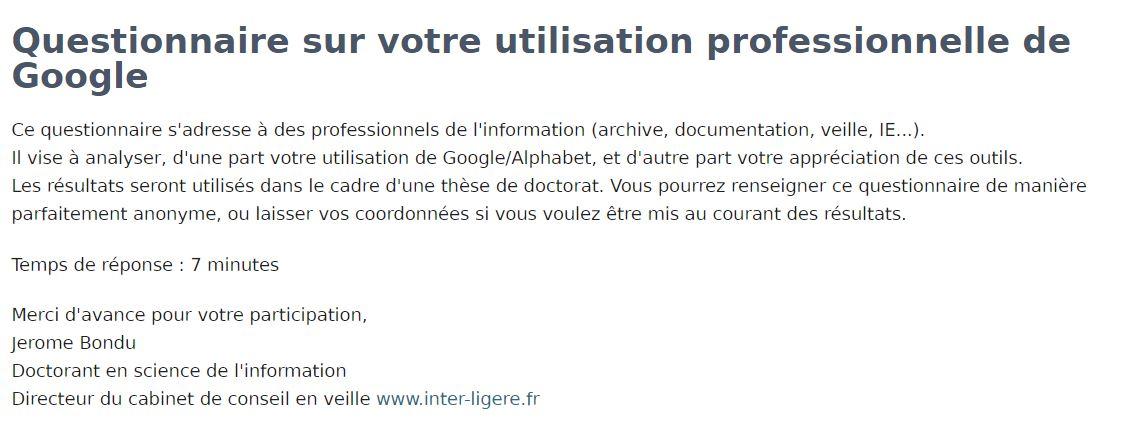 questionnaire google